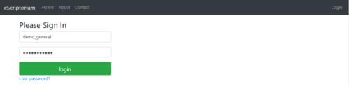 """Aperçu de l'interface de connexion, où l'on entre son login et son mot de passe avant de cliquer sur """"login""""."""